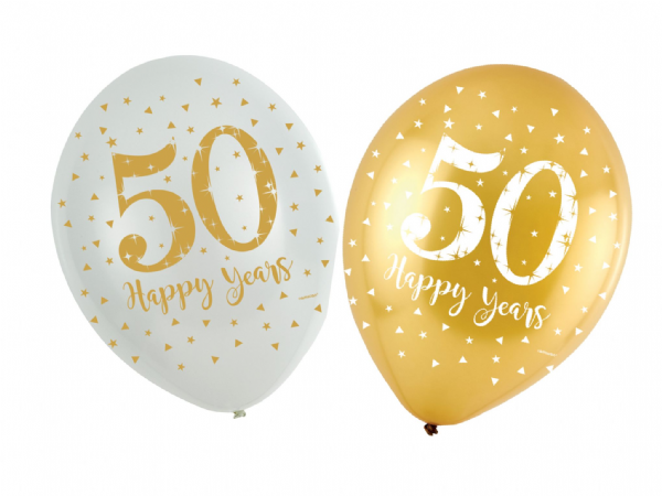 Sparkling Golden Anniversary Latex Balloons